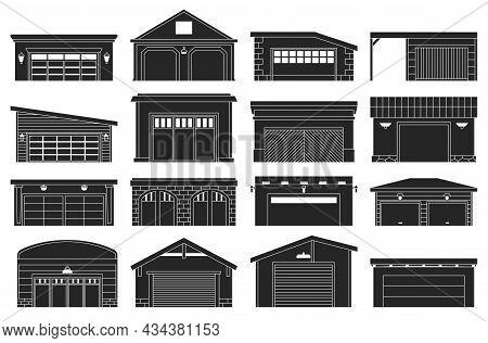 Garage Isolated Black Set Icon. Vector Black Set Icon Car House. Vector Illustration Garage On White