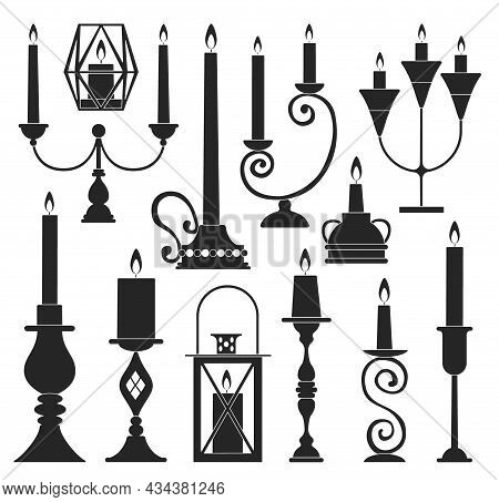 Candle Holder Vector Illustration On White Background. Vector Black Set Icon Candlestick. Isolated B