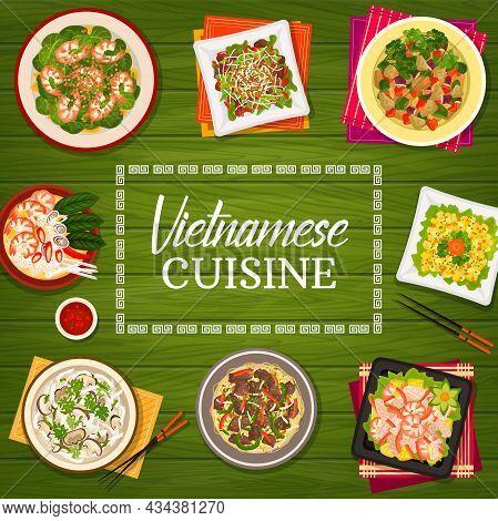 Vietnamese Cuisine Vector Prawn Soup Pho, Shiitake Mushroom Soup Pho Or Vegetable Lamb Salad. Beef N