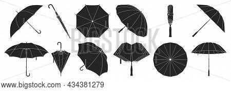 Umbrella Isolated Black Set Icon. Vector Black Set Icon Rainy Cover . Vector Illustration Umbrella O