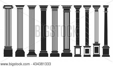 Antique Column Black Set Icon. Isolated Vector Black Set Icon Classic Pillar. Vector Illustration An