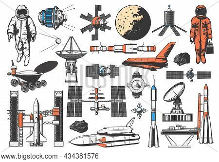 Space Icons Of Rocket, Spaceman And Planets Satellites, Vector Galaxy Exploration. Lunar Rover And S