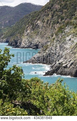 View Of The Mediterranean Sea Coast, Turquoise Water And Surrounding Rocks, Cinque Terre, Italy