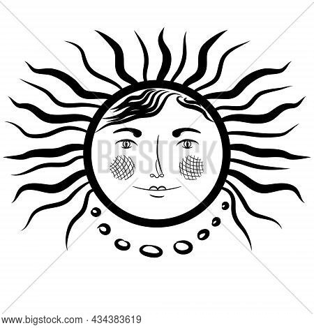 The Heavenly Symbol Is The Sun With A Woman's Face. Celestial Body Icon. Vintage Medieval Style. Fem