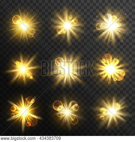 Sun Light, Burst And Explosion, Golden Glow, Flash And Flare Rays Effect. Vector Beams Or Star Spark