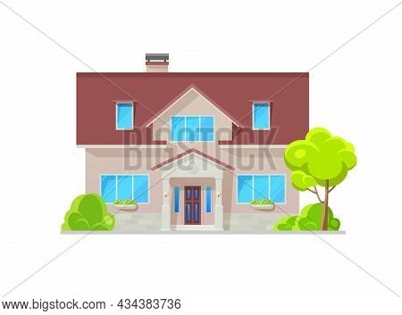 Modern Home Building Exterior Framed By Natural Stone Wall Trim, Architecture. Suburban House Or Res