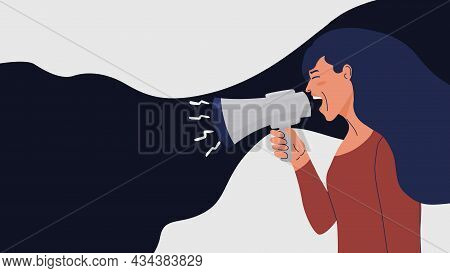 Shouting Woman. Speaker Lady. Abstract Female Character Screaming Into Megaphone. Social Ad Banner W