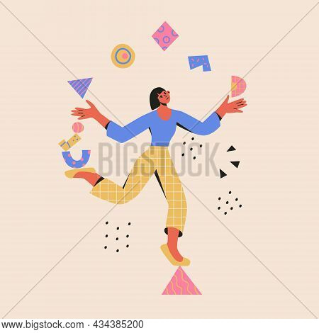 Multitasking Concept. Woman Balances On A Triangle And Juggle Abstract Shapes. Modern Vector Cartoon