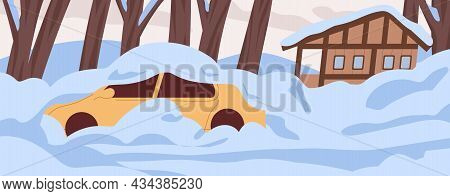 Car And House Covered With Snow, Buried Under It. Snowy Landscape With Auto And Home In Cold Weather