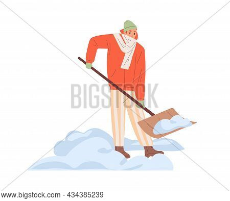Person Removing Snow With Shovel In Cold Winter. Man Cleaning Path With Spade Outdoors. Guy Shovelin