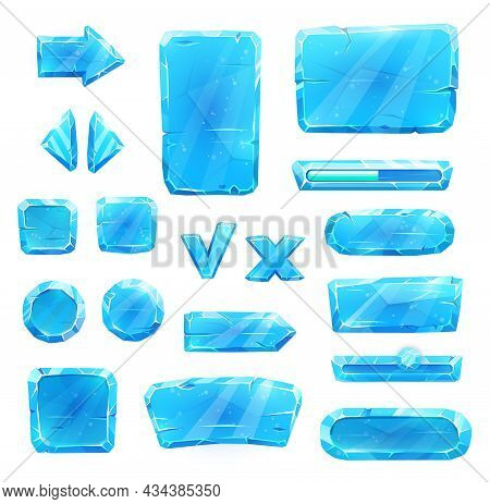 Game Asset Of Blue Ice Crystal Buttons, Cartoon Vector Set. Menu Interface Of Iced Textured Blocks A