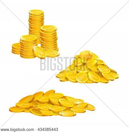 Cartoon Golden Coins Pile And Stacks, Vector Gold Money Icons. Golden Coins Currency, Shiny Gold Pil