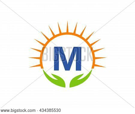 Charity Logo With Hand, Sun And M Letter Concept. Letter M Charity Logo Template Donation Organizati