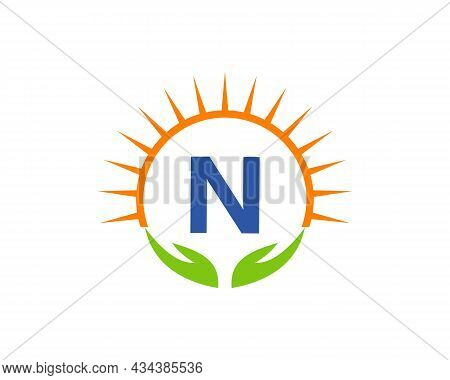 Charity Logo With Hand, Sun And N Letter Concept. Letter N Charity Logo Template Donation Organizati