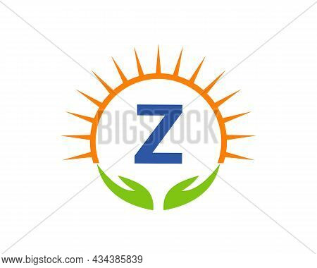 Charity Logo With Hand, Sun And Z Letter Concept. Letter Z Charity Logo Template Donation Organizati