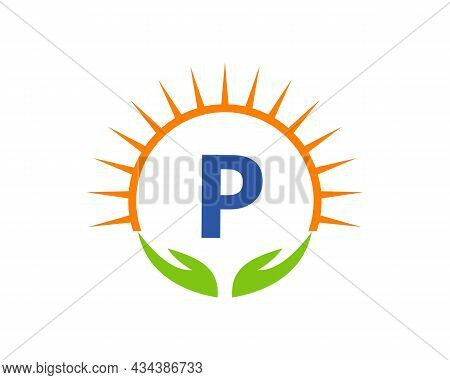 Charity Logo With Hand, Sun And P Letter Concept. Letter P Charity Logo Template Donation Organizati