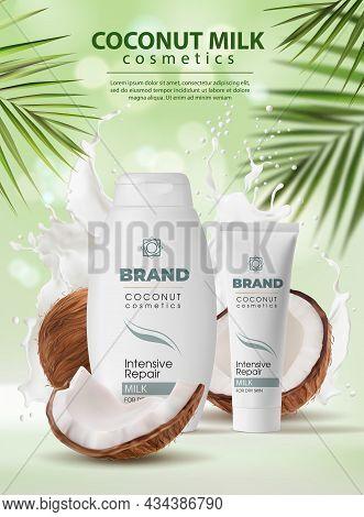 Coconut Milk Cosmetics, Skin Care Cream And Shampoo. Vector Cosmetics Poster, Natural Whole Half Coc