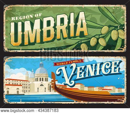 Venice And Umbria Italian Provinces Vintage Plates And Stickers, Vector Tin Signs. Italy Cities Entr