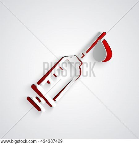 Paper Cut Syringe Icon Isolated On Grey Background. Syringe For Vaccine, Vaccination, Injection, Flu