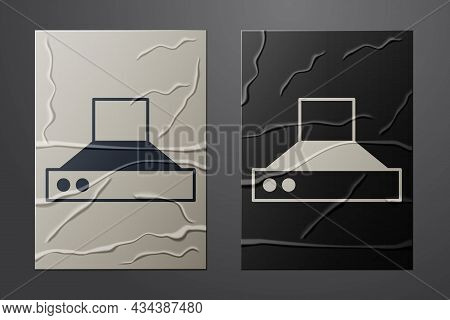 White Kitchen Extractor Fan Icon Isolated On Crumpled Paper Background. Cooker Hood. Kitchen Exhaust