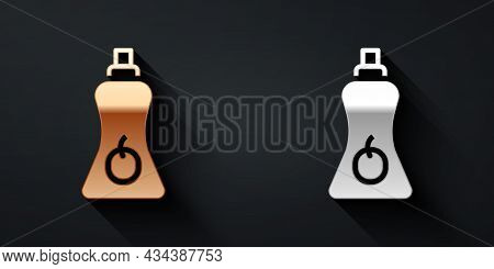 Gold And Silver Sauce Bottle Icon Isolated On Black Background. Ketchup, Mustard And Mayonnaise Bott
