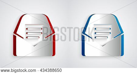 Paper Cut Mail And E-mail Icon Isolated On Grey Background. Envelope Symbol E-mail. Email Message Si