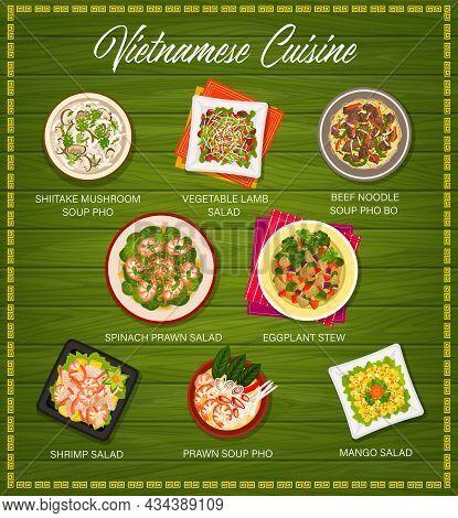 Vietnamese Cuisine Vector Menu Cover Shiitake Mushroom Soup Pho, Vegetable Lamb Salad And Beef Or No