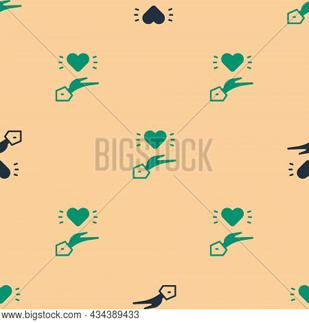 Green And Black Pleasant Relationship Icon Isolated Seamless Pattern On Beige Background. Romantic R