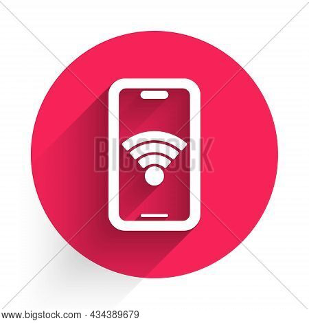 White Smartphone With Free Wi-fi Wireless Connection Icon Isolated With Long Shadow Background. Wire