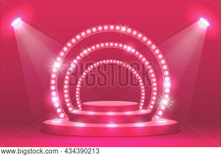 Pink Podium Stage With Ramp Lights, Vector Ceremony Award And Show Scene. Empty Podium Stage With Sp