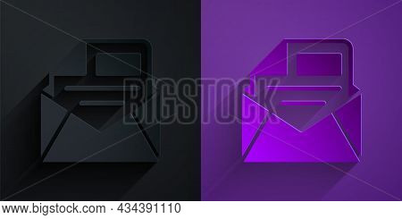 Paper Cut Mail And E-mail Icon Isolated On Black On Purple Background. Envelope Symbol E-mail. Email