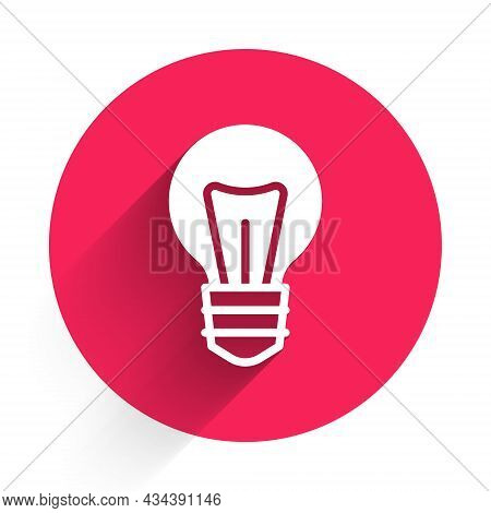 White Light Bulb With Concept Of Idea Icon Isolated With Long Shadow Background. Energy And Idea Sym