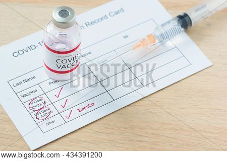 Vaccination Record Card Of Booster Dose Or Third Injection Of Covid-19 Vaccination For High Immunity
