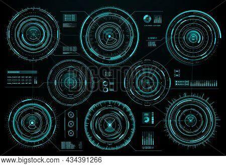 Hud Futuristic Circular Interface Screen Panel, Sci Fi Web Interface And Business Infographic Visual