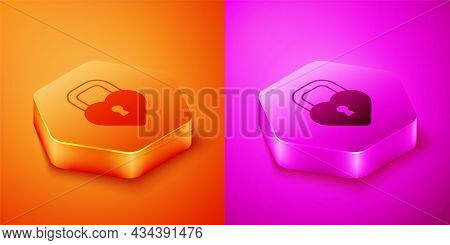 Isometric Castle In The Shape Of A Heart Icon Isolated On Orange And Pink Background. Locked Heart.