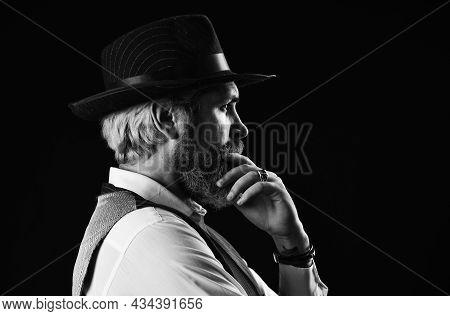 Brutal Bearded Hipster In Suit Vest. Mafia Gentlemen Club. Mature Cowboy. Detective Acknowledgement