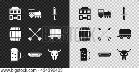 Set Wild West Saloon, Retro Train, Military Knife, Wooden Beer Mug, Harmonica, Buffalo Skull, Barrel