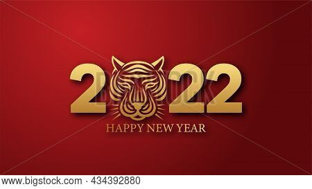 2022. Happy New Year 2022. Golden 2022 Text With A Tiger Head. Happy Chinese New Year. Year Of The T