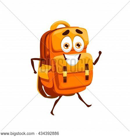 Cartoon School Bag, Schoolbag Mascot Character. Funny Orange Backpack With Happy Smiling Face, Schoo
