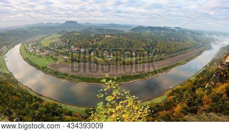 Saxon Alps, the dawn in a nature reserve near Dresden