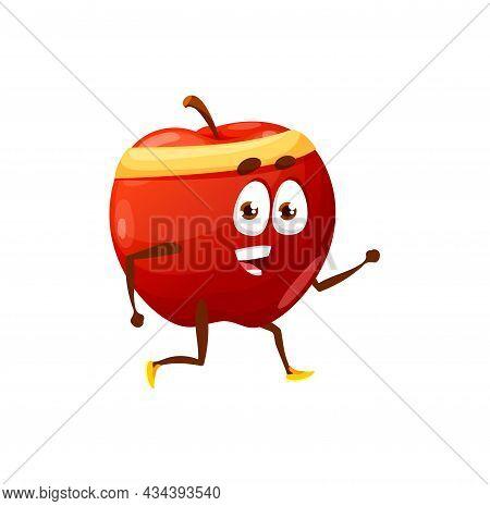 Cartoon Apple Jogging Or Running Isolated Happy Cartoon Character. Vector Summer Fruit Hobby Sport A