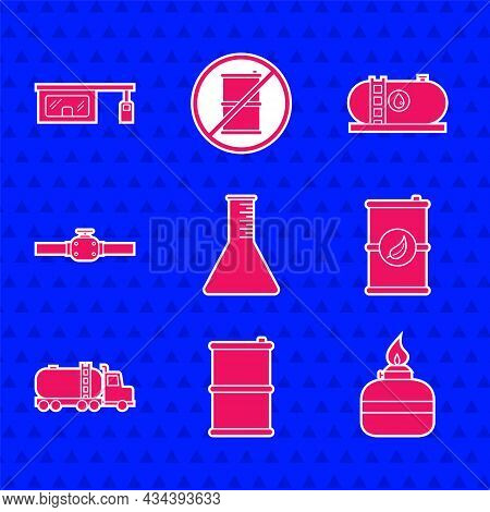 Set Oil Petrol Test Tube, Barrel Oil, Alcohol Or Spirit Burner, Bio Fuel Barrel, Tanker Truck, Indus