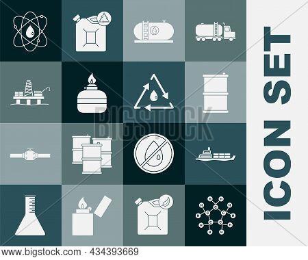 Set Molecule Oil, Oil Tanker Ship, Barrel, Industrial Factory Building, Alcohol Spirit Burner, Platf