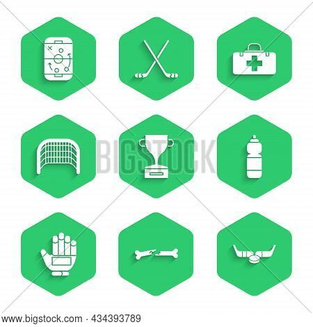 Set Award Cup, Human Broken Bone, Ice Hockey Sticks And Puck, Fitness Shaker, Hockey Glove, Goal, Fi