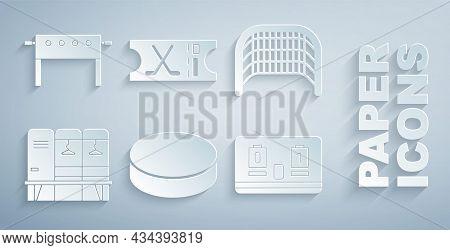 Set Hockey Puck, Ice Hockey Goal, Locker Or Changing Room, Mechanical Scoreboard, Sports Ticket And