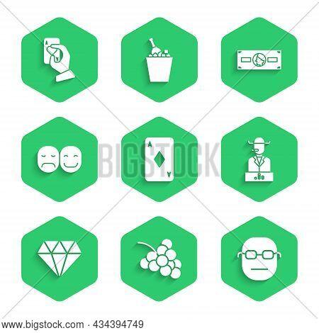 Set Playing Card With Diamonds, Casino Slot Machine Grape, Poker Player, Diamond, Stacks Paper Money