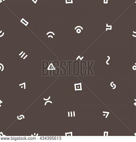 Seamless Abstract Pattern On Black Background. Vector Doodle Image. Graphic Linear Wallpaper.