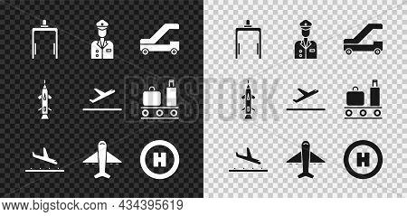 Set Metal Detector In Airport, Pilot, Passenger Ladder For Plane Boarding, Plane Landing, Helicopter