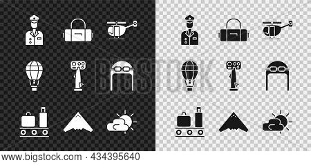 Set Pilot, Suitcase, Helicopter, Airport Conveyor Belt With Suitcase, Jet Fighter, Sun And Cloud Wea