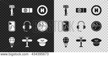 Set Aircraft Steering Helm, Airline Ticket, Helicopter Landing Pad, Hot Air Balloon, Plane, Pilot Ha